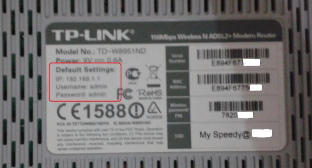 Tampilan belakang modem TP LINK TD-W8951ND